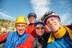 Group of cyclists in helmets. team outdoors stock photos