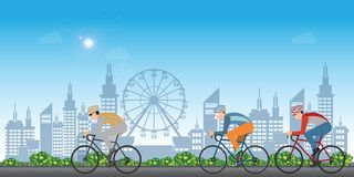 Group of cyclists man in road bicycle racing on city view background vector illustration