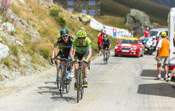 Group of Cyclists on the Mountains Roads - Tour de France 2015 Stock Images