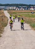 Group of cyclists in Northern Poland stock photos