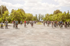 Group of cyclists organized a summer arrival on bikes on the road. Stock Photography