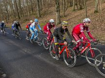 Group of Cyclists - Paris-Nice 2017 Royalty Free Stock Images