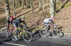 Group of Cyclists - Paris-Nice 2017 royalty free stock photos