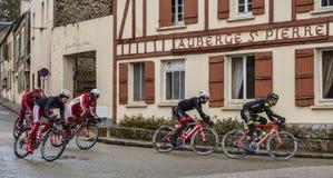 Group of Cyclists - Paris-Nice 2018 stock photos