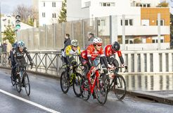 Group of Cyclists - Paris-Nice 2018 royalty free stock photo