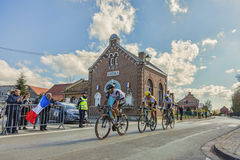 Group of Cyclists - Paris Roubaix 2016 royalty free stock image