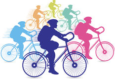 Group of cyclists racing. Illustration art of a group of cyclists racing with  background Stock Images