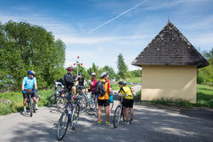 Group of cyclists is resting Royalty Free Stock Image