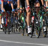 Group of cyclists ride uphill vigorously during the cycling race Royalty Free Stock Image