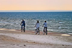 Group of cyclists riding bicycles along the seaside in the evening. Selective focus. Stegna, Pomerania, northern Poland stock images