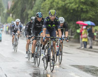 Group of Cyclists Riding in the Rain - Tour de France 2014 Royalty Free Stock Photo