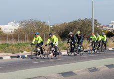 Group of cyclists on winter morning trains on intercity road Royalty Free Stock Photography