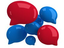 Group of 3d blank speech bubbles. Isolated on white. Chat symbols, conference concept. Render vector illustration
