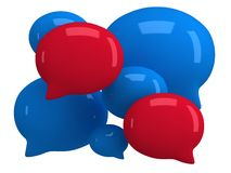 Group of 3d blank speech bubbles. Isolated on white. Chat symbols, conference concept. Render Stock Image