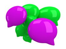 Group of 3d blank speech bubbles. Isolated on white. Chat symbols, conference concept. Render Stock Images