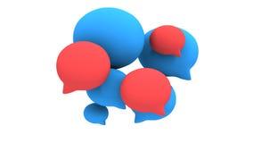 Group of 3d blank speech bubbles pulse animation