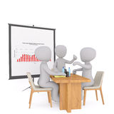 Group of 3d businessmen in a meeting. Group of 3d rendered cartoon businessmen in a meeting seated around an office table discussing a performance chart on the Stock Photos