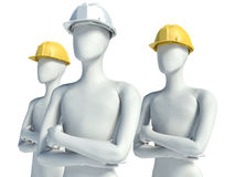 Group 3D construction worker with helmet on white background Royalty Free Stock Photos