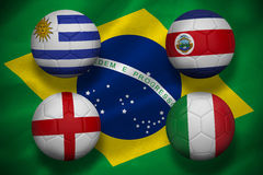 Group d footballs for world cup Stock Images
