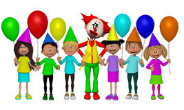 Group of 3d kids, celebrating party with Clown Royalty Free Stock Image