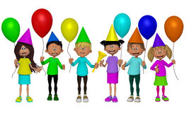 Group of 3d kids, celebrating party Stock Photography