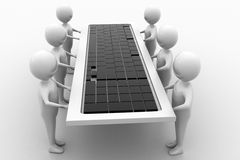 Group of 3d man carrying keyboard Royalty Free Stock Photography