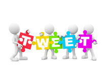 Group of 3D Men Holding TWEET Stock Image