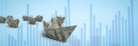 Group of 3d money boats on graph. Digital composite of Group of 3d money boats on graph Stock Photos