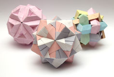 Group of 3d origami balls Stock Photo
