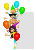 Group of 3d party kids, border Stock Photography