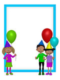 Group of 3d party kids, frame Stock Images