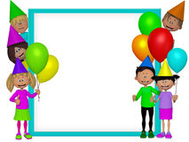 Group of 3d party kids, frame Royalty Free Stock Images