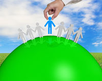 Group of 3D people connecting on green ball Royalty Free Stock Photo