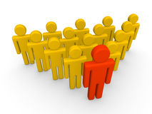 Group of 3d people with leader. Stock Images