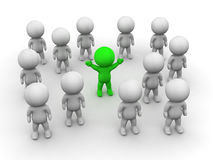 3D Man Stands Out from the crowd. Group of 3d people, and the one in the middle is green royalty free illustration