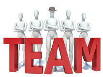 Group of 3d people standing next to the word team Stock Image