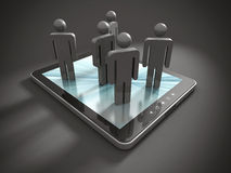 Group Of 3d PeopleTeam On Tablet PC Royalty Free Stock Image