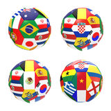 Group A. 3D render of 4 soccer football representing competition group A on 2014 FIFA world cup on on white background Stock Images