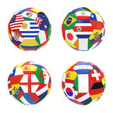 Group D. 3D render of 4 soccer football representing competition group D on 2014 FIFA world cup on on white background Stock Photography