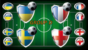 Group D - Ukraine, Sweden, France, England Royalty Free Stock Photos