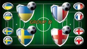 Group D - Ukraine, Sweden, France, England. Euro 2012, Group D - Ukraine, Sweden, France, England. Participation of teams at the biggest European football Stock Illustration