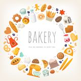 Group of dairy products, bread and bakery goods stock illustration