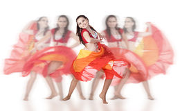 Group dancer. Woman dancer isolated over white background Royalty Free Stock Image