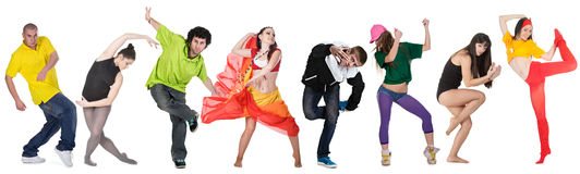 Group dancer. Isolated over white background Royalty Free Stock Image