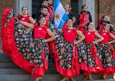 Group of dancer from Argentina in traditional costume. TIMISOARA, ROMANIA - JULY 6, 2017: Group of dancer from Argentina in traditional costume present at the stock photography
