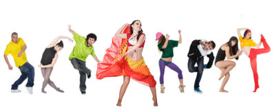 Group dancer with leader. Isolated over white background Stock Photo