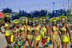 Group dancers. Ladies with flags in hands ready to perform at the annual scotia bank caribbean festival in toronto canada 4 august 2012 Stock Image