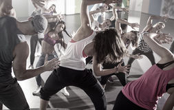 Group of dancers at fitness training royalty free stock image