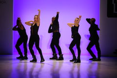 Group of dancers performs at opening of the New York Life fashion show during MBFW Fall 2015 Royalty Free Stock Photo