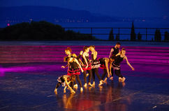 Group of dancers on the stage of Vittoriale`s theater. stock image